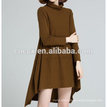 PK17ST458 turtle neck long sleeve sweater dress for woman adults group