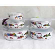 5 pc enamel bowl with PE lids & cute kitty enamel ice bowl
