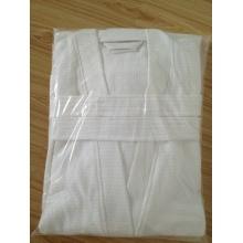 100% coton waffle Kimono Collar White Bathrobe