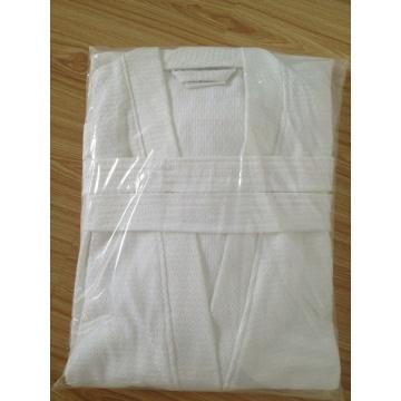 100% Baumwollwaffel Kimono Collar Weißer Bademantel