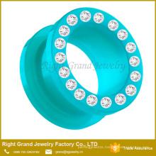 UV Acrylic Multi CZ Gems Ear Flesh Tunnel Gauges