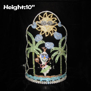 10in Height Crystal Plam Tree Pageant Crowns With Sunshine