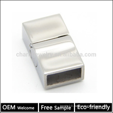 BX059 Wholesale 316L stainless steel jewelry finding Strong Magnetic Clasp with a satin silver finish for flatleather bracelet