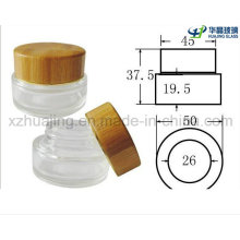 30g 50g Clear Round Wooden Screw Cap Glass Jar Cream