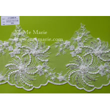 Ivory Flower Lace Bridal Wedding Lace Fabric with Sequins & Pearls CT298B-R