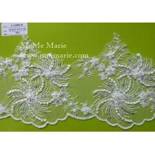 Цветок из слоновой кости кружева Свадебные свадебное кружевной ткани с блестками & бисер CT298B-Р