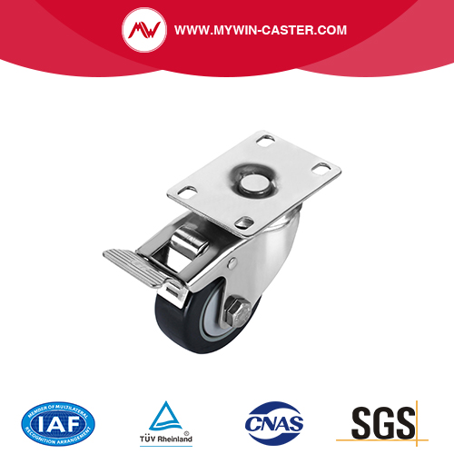 Plate Swivel PU Caster With Brake