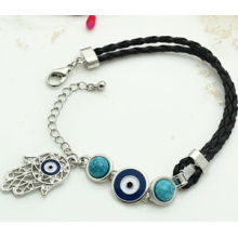 Evil Eye y Fatima Hand on Leather Thread Bracelet (XBL13495)