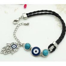 Olho do mal e fatima mão na pulseira de fio de couro (xbl13495)