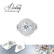 Destino joyería cristal de Swarovski anillo disco