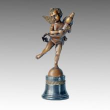 Klassische Figur Statue Winged Boy Dolphin Bronze Skulptur TPE-101