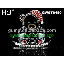 Christmas bear rhinestone tiara and crown