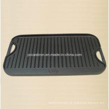 Placa da grelha do ferro fundido com revestimento Preseasoned Aprovado por LFGB, Ce, FDA, SGS