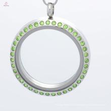 Mode 30mm rond en acier inoxydable aimant flottant mémoire verre charme médaillons bijoux avec cristal vert