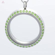 Moda 30mm rodada ímã de aço inoxidável memória flutuante vidro charme medalhões de jóias com cristal verde