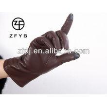 2016 venta caliente 2 dedos color marrón pantalla táctil Smartphone guante de cuero