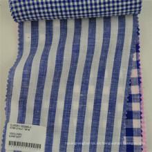 tela de lino teñida del hilado puro al por mayor para la camisa