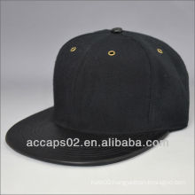 black plain leather flatbill snapback hat