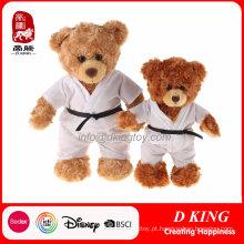 um par de brinquedo de pelúcia ursinho de pelúcia uniforme de taekwondo