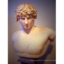 décoration extérieure pierre sculpture en marbre romain buste antinous statue