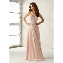 Rosa Stickerei Perlen Chiffon eine Linie Brautjungfer Kleid