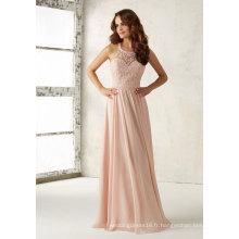 Broderie rose perles en mousseline de soie une robe de demoiselle d'honneur de ligne