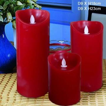 red flameless Luminara Pillar Candles