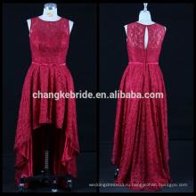 Новый кружева вечернее платье короткий передний долго назад платье без рукавов высокий низкий вечернее платье швейные модели