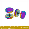 Atacado titanium anodizado ouro rainbow chapeado 10mm custom plugues falsos brincos