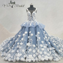 2016 vestido de boda hecho a mano de lujo de las flores Los últimos vestidos de boda de Mariage Alibaba China Vestidos de boda QY-922