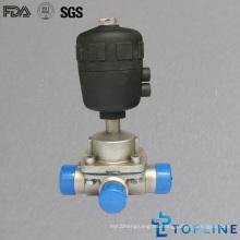 Válvula de diafragma de tres vías sanitaria de acero inoxidable con extremos de soldadura