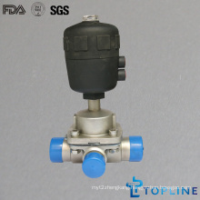 Stainless Steel Sanitary Three Way Diaphragm Valve with Weld Ends