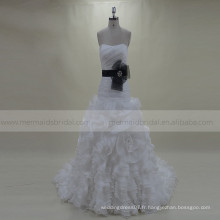 Sweety Plissé Ruffle Rosettes Organza Wedding Gown Train Chapelle