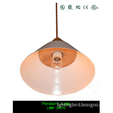 Modern wood pendant lamp with iron lampshade