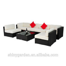 7pcs conjunto de muebles seccionales de sofá de mimbre de mimbre de patio al aire libre PE