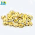 BB082 Großhandel AAA Klasse goldenen Strass Spacer Bead