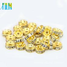 BB082 wholesale AAA grade golden rhinestone spacer bead