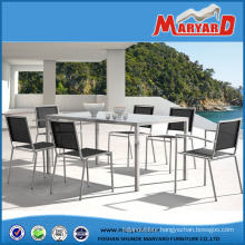 Stunning Stainless Steel Garden Furniture Set with Dining Table and Chairs