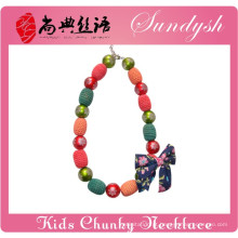 2014 mais recente Handmade Chunky Beads Kids Necklace para o Natal