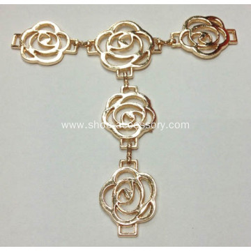 Alloy Gold Rose Flowers Chain Sandals