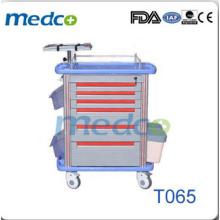 Chariot médical d'urgence hospitalier abs luxueux T065