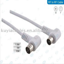White TV CABLE 1.8M 90 DEGREE CONNECTOR RF CABLE
