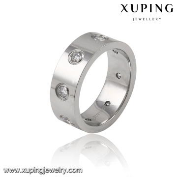 13974 Fashion Cool Cubic Zirconia Stainless Steel Jewelry Finger Ring for Men