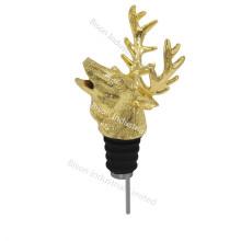 Custom Logo Impressão Deer Vinho Pourer, Garrafa Deer Head Wine Pourer