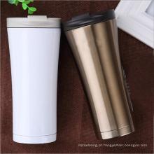 copo de café isolado da garrafa de água do aço inoxidável