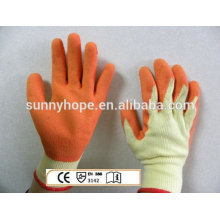 Luvas de malha revestidas de látex, com sobras de sol, luvas de trabalho com luvas de trabalho em rugas de superfície