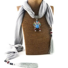 Fashion shiny Women Tassel Neckerchief Metal Pendant Scarf