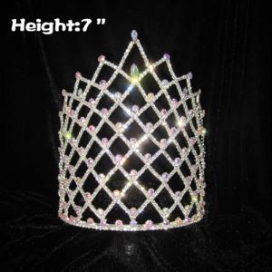 Coronas de desfile al por mayor de 7 pulgadas de altura con diamantes AB