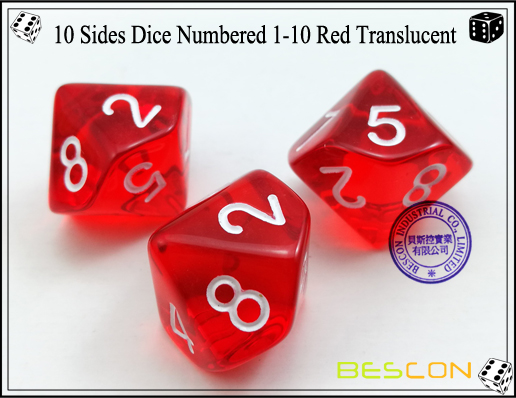 10 Sides Dice Numbered 1-10 Red Translucent-3