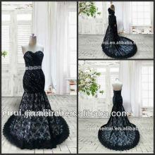 Elegante Encantador Encantado Negro Encaje Hermoso Vestido De Baile Real Muestra